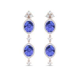 16.21 ctw Tanzanite & VS Diamond Earrings 18K Rose Gold