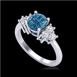 1.5 ctw Intense Blue Diamond Engagement Ring 18K White Gold