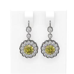 3.93 ctw Fancy Yellow Diamond Earrings 18K White Gold