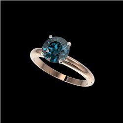2 ctw Certified Intense Blue Diamond Engagement Ring 10K Rose Gold