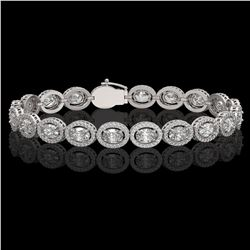13.25 ctw Oval Cut Diamond Micro Pave Bracelet 18K White Gold