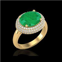 4.50 ctw Emerald & Micro Pave VS/SI Diamond Ring 18K Yellow Gold