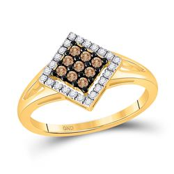10kt Yellow Gold Round Brown Diamond Square Cluster Ring 1/4 Cttw