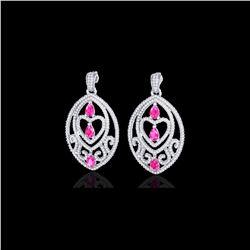 7 ctw Sapphire Pink & Micro Pave Diamond Heart Earrings 18K White Gold