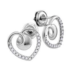 10kt White Gold Round Diamond Heart Screwback Earrings 1/4 Cttw