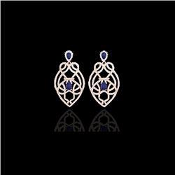 7 ctw Tanzanite & Micro VS/SI Diamond Heart Earrings 14K Rose Gold