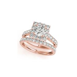 2.79 ctw Certified VS/SI Diamond 2pc Wedding Set Halo 14K Rose Gold