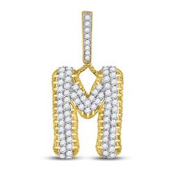 "10kt Yellow Gold Mens Round Diamond ""M"" Letter Charm Pendant 1-1/2 Cttw"