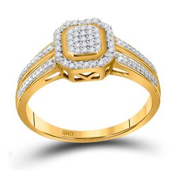 10kt Yellow Gold Round Diamond Square Cluster Bridal Wedding Engagement Ring 1/10 Cttw