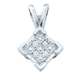 Sterling Silver Round Diamond Diagonal Square Cluster Pendant .01 Cttw