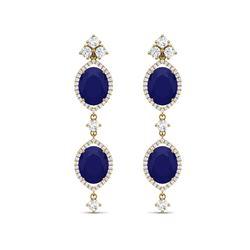 15.81 ctw Sapphire & VS Diamond Earrings 18K Yellow Gold