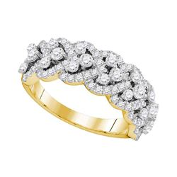 14kt Yellow Gold Round Diamond Spade-shape Band Ring 1-1/3 Cttw