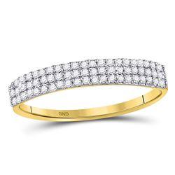 10kt Yellow Gold Round Diamond 3-Row Anniversary Ring 1/5 Cttw