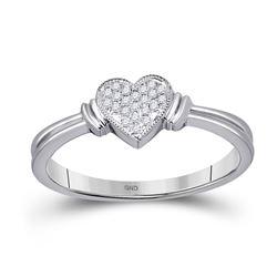 10kt White Gold Round Diamond Heart Cluster Ring 1/12 Cttw