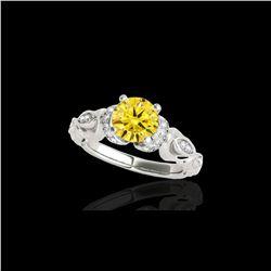 1.2 ctw Certified SI Intense Yellow Diamond Antique Ring 10K White Gold