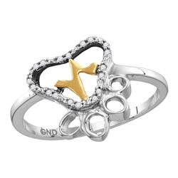 Sterling Silver Round Diamond Paw Print Yellow-tone Heartbeat Cluster Ring 1/20 Cttw