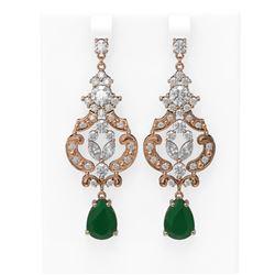12.64 ctw Emerald & Diamond Earrings 18K Rose Gold