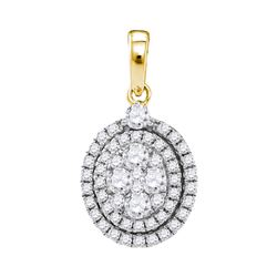 14kt Yellow Gold Round Diamond Oval Cluster Pendant 1.00 Cttw