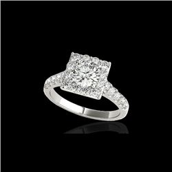 2.5 ctw Certified Diamond Solitaire Halo Ring 10K White Gold