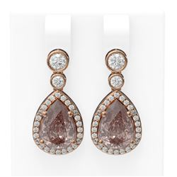2.5 ctw Morganite & Diamond Earrings 18K Rose Gold