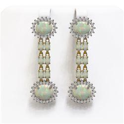 9.48 ctw Opal & Diamond Earrings 14K Yellow Gold