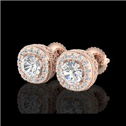 1.69 ctw VS/SI Diamond Solitaire Art Deco Stud Earrings 18K Rose Gold