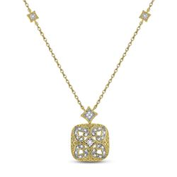 Sterling Silver Round Diamond Filigree Fashion Necklace 1/10 Cttw