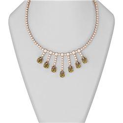33.67 ctw Canary Citrine & Diamond Necklace 18K Rose Gold