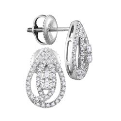 10kt White Gold Round Diamond 2-stone Teardrop Stud Earrings 1/4 Cttw