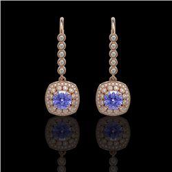 5.2 ctw Certified Tanzanite & Diamond Victorian Earrings 14K Rose Gold