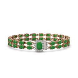 28.76 ctw Jade & Diamond Bracelet 14K Rose Gold