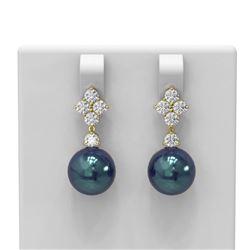 1.2 ctw Diamond and Pearl Earrings 18K Yellow Gold