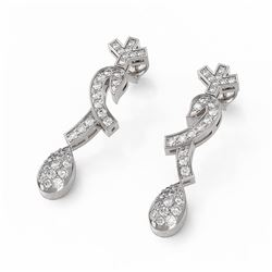 1.66 ctw Diamond Designer Earrings 18K White Gold
