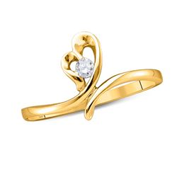 14kt Yellow Gold Round Diamond Heart Promise Bridal Ring 1/12 Cttw