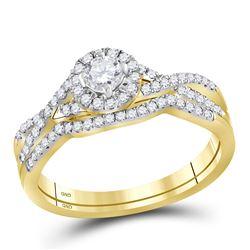 10kt Yellow Gold Round Diamond Twist Bridal Wedding Engagement Ring Band Set 1/2 Cttw