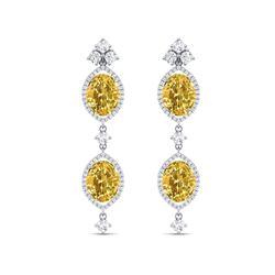 12.21 ctw Canary Citrine & VS Diamond Earrings 18K White Gold