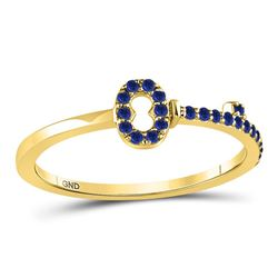 10kt Yellow Gold Round Blue Sapphire Key Stackable Band Ring 1/5 Cttw