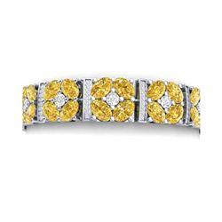 28.95 ctw Canary Citrine & VS Diamond Bracelet 18K White Gold