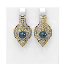 4.14 ctw Diamond and Pearl Earrings 18K Yellow Gold