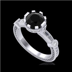 1.71 ctw Fancy Black Diamond Engagement Art Deco Ring 18K White Gold