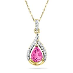 10kt Yellow Gold Pear Lab-Created Pink Sapphire Solitaire Diamond Pendant 1-5/8 Cttw