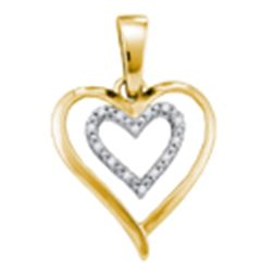 Yellow-tone Sterling Silver Round Diamond Double Heart Pendant 1/20 Cttw