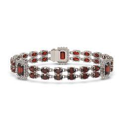 28.86 ctw Garnet & Diamond Bracelet 14K White Gold