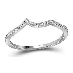 14kt White Gold Round Diamond Contoured Enhancer Wedding Band 1/12 Cttw