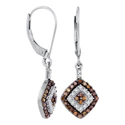 10kt White Gold Round Brown Diamond Square Dangle Earrings 1/2 Cttw