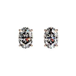 1 ctw Certified VS/SI Quality Oval Diamond Stud Earrings 10K Rose Gold