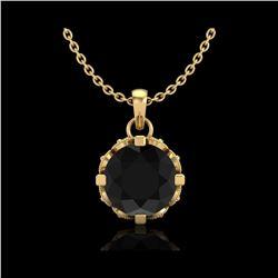 1.14 ctw Fancy Black Diamond Art Deco Stud Necklace 18K Yellow Gold