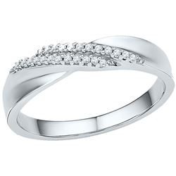 10kt White Gold Round Diamond Double Row Crossover Band Ring 1/10 Cttw