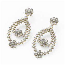 18.73 ctw Pear Cut Diamonds Designer Earrings 18K Yellow Gold