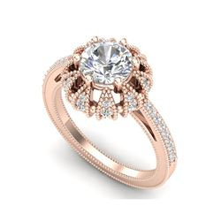 1.65 ctw VS/SI Diamond Art Deco Micro Pave Ring 18K Rose Gold